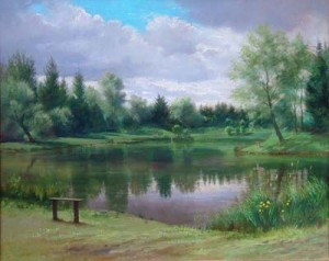Hauxton Fisheries - lake painting, by Will Garfit