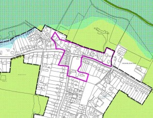 Hauxton conservation area marked in pink line, click for larger image