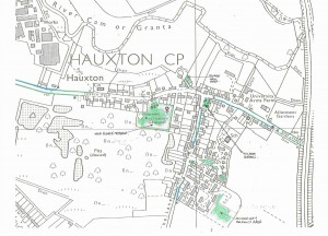 Open green spaces in central Hauxton
